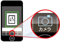 「Wine-Link」のカメラ機能を起動して、抽選券のブドウマークを読み取る。